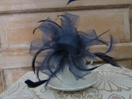 Navy looped fascinator