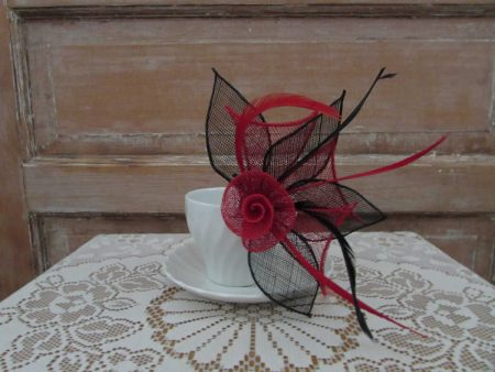 Two tone flower fascinator black and red