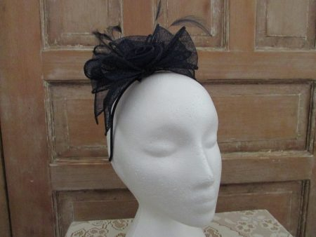 Looped sinamay fascinator navy