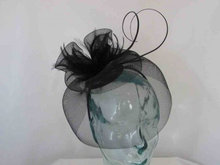 Looped netted fascinator black