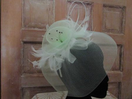Looped netted fascinator mint