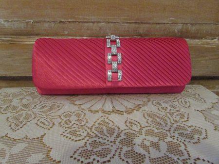 Diamante satin clutch bag in pink