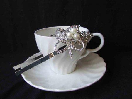 Silver diamante headband with 3 pearls