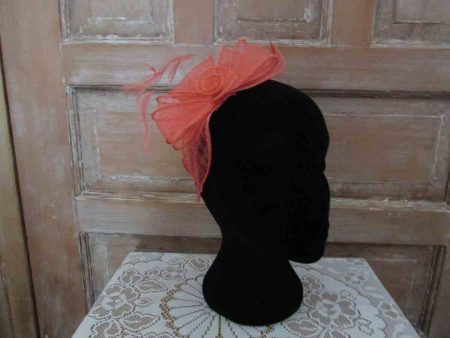 Looped sinamay fascinator coral