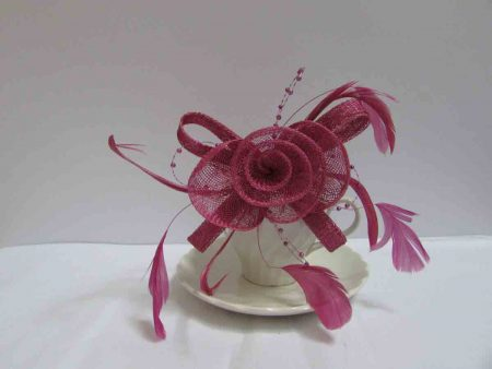 Sinamay fascinator in plum