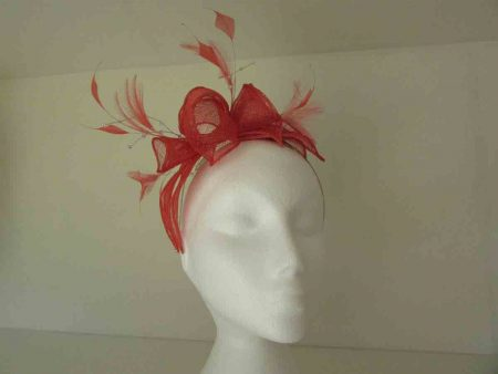 Double flower fascinator in coral