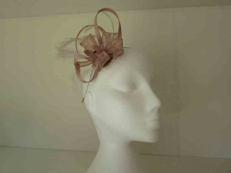 Sinamay flower fascinator in nude