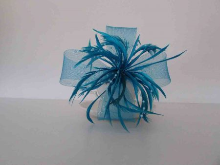 Large looped fascinator aqua blue