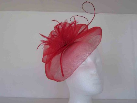 Looped netted fascinator red