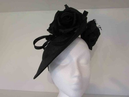 Sinamay hatinator with flower detail in black