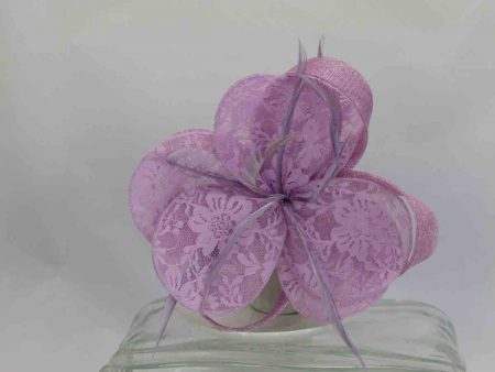 Sinamay and lace flower fascinator lilac