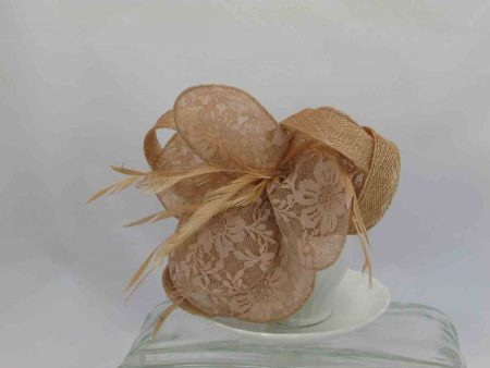 Sinamay and lace flower fascinator nude