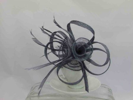 Simanay triple flower fascinator grey