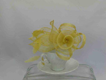 Sinamay flower fascinator yellow