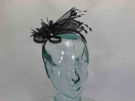 Sinamay looped fascinator with diamates black