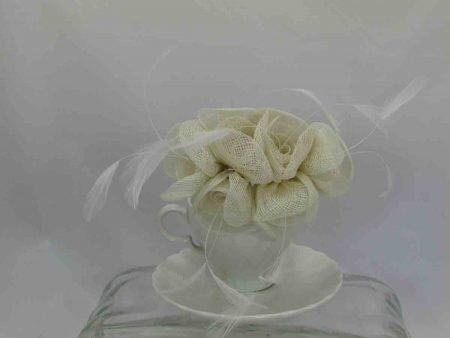 Small flowered sinamay fascinator ivory