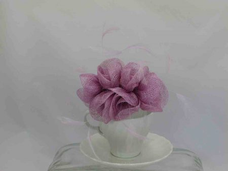 Small flowered sinamay fascinator lilac