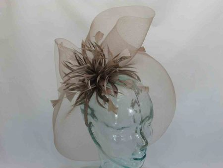 Netted fascinator brown