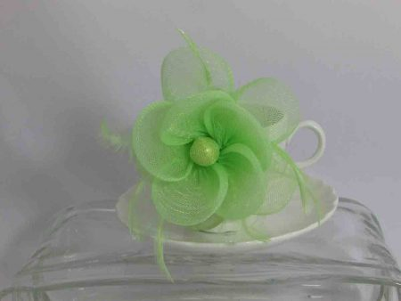 Mesh flower fascinator green