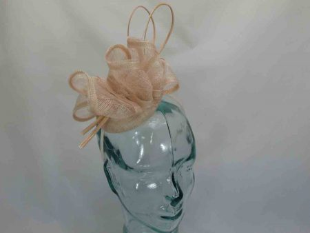 Pillbox fascinator with swirl sinamay peach
