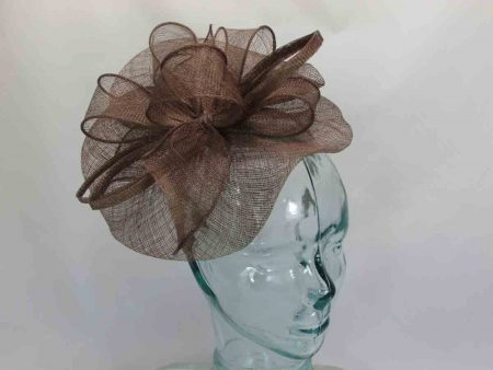 Sinamay fascinator brown