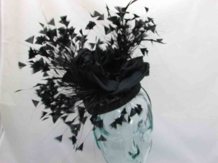 Pill box fascinator with beautiful centre flower in black