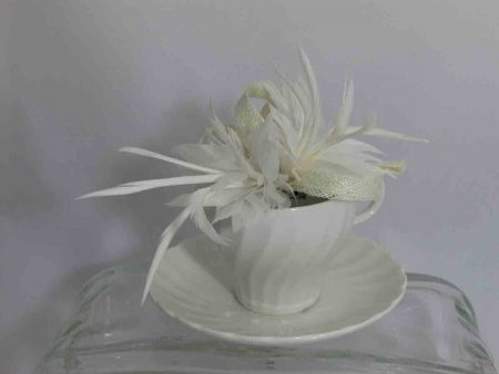 Sinamay fascinator in ivory