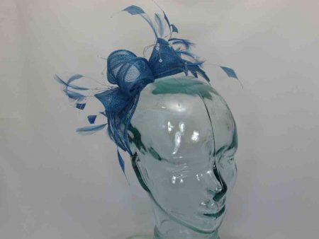 Double flower fascinator in blue