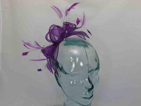 Double flower fascinator in Purple