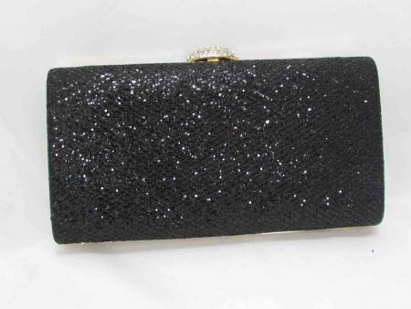 Glitz hardcase clutch bag in black