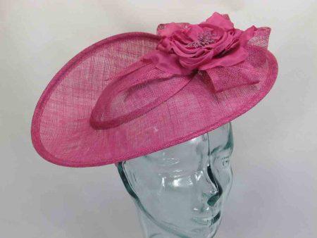 Sinamay fascinator in pink