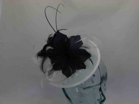 Small black hatinator with white feathered flower