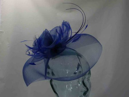 Looped netted fascinator royal blue