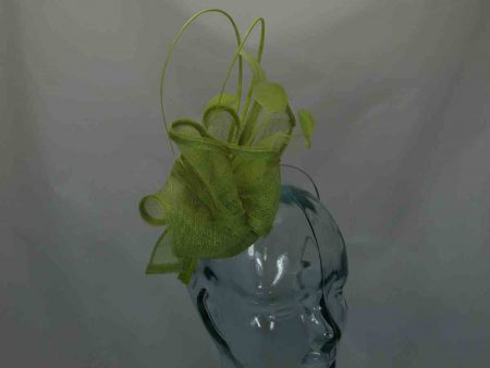 Pillbox fascinator with swirl sinamay lime