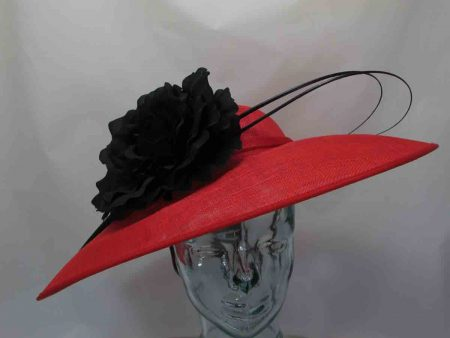 Large sinamay hatinator in red with black flower