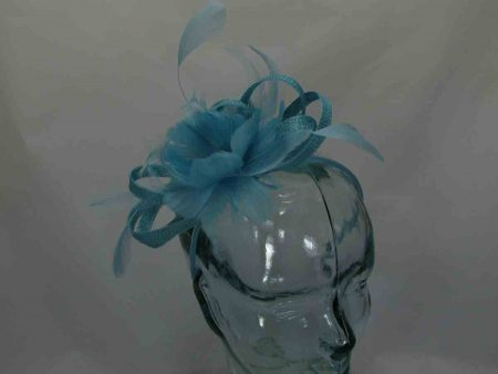 Sinamay looped fascinator in aqua