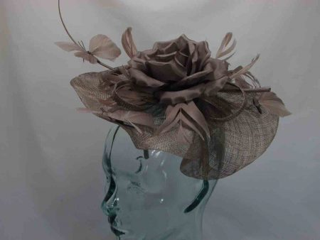 Wavy sinamay fascinator with feathered butterflies in brown