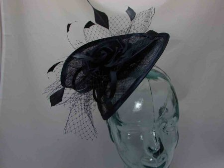 Twisted sinamay fascinator in navy