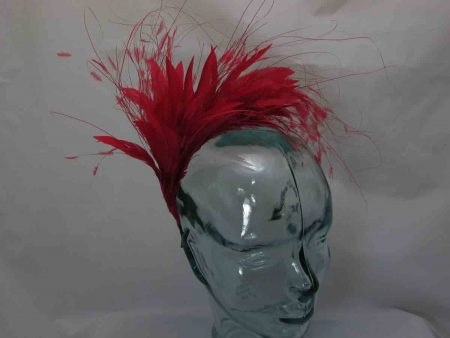 Feathered fascinator in red