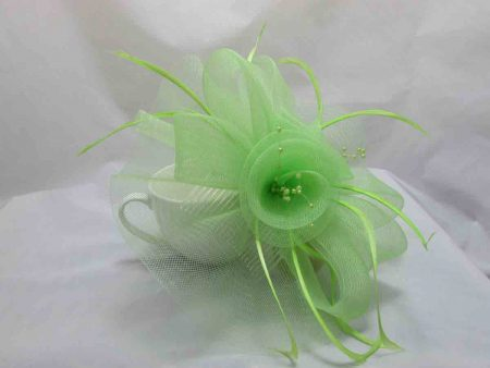 Netted fascinator in bright green