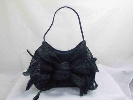 Sinamay clutch bag navy