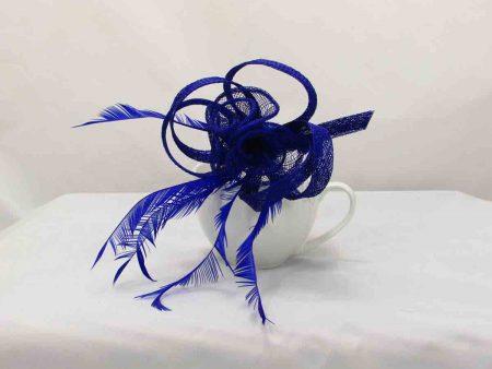 Simanay triple flower fascinator royal blue