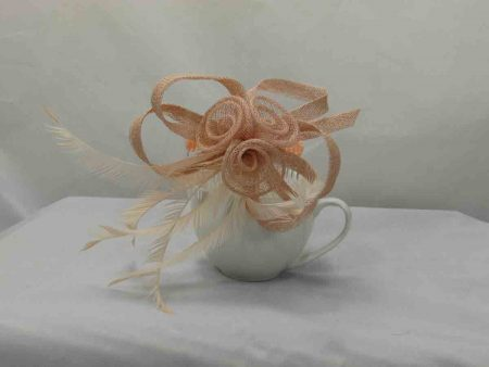 Simanay triple flower fascinator light nude