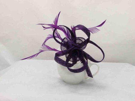 Simanay triple flower fascinator purple