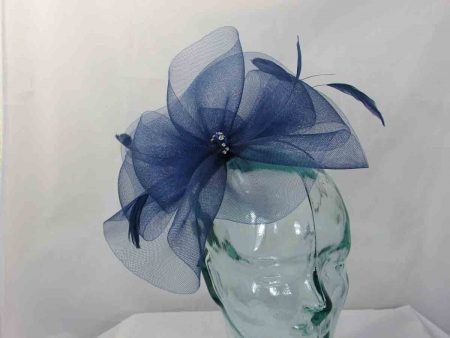 Crin fascinator in a deep colbalt blue