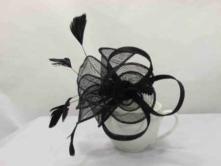 Sinamay flower fascinator black