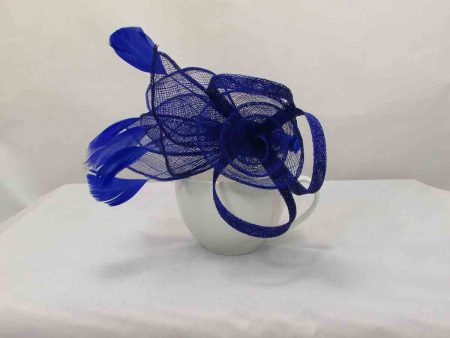 Sinamay flower fascinator blue