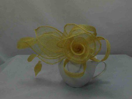 Sinamay flower fascinator deep yellow