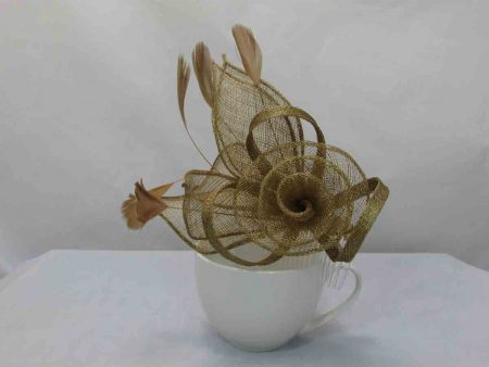 Sinamay flower fascinator gold