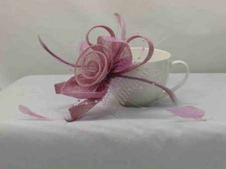 Sinamay fascinator in lilac